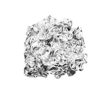 crumpled ball of aluminum foil isolated on white background, Save clipping path. Banco de Imagens