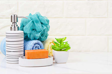 Herb soap, shower sponge and shampoo pump bottle inside a bright bathroom background.