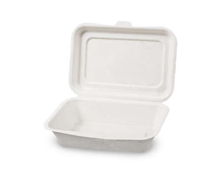 Bagasse box for food isolated on white background, Saved clipping path. It is made from nature Go green