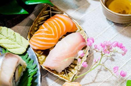Fresh salmon and tuna sushi. Japanese food style.