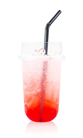 Strawberry italian soda drink in glass with straws isolated on white background, Save clipping path.