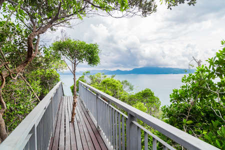 Walkway to the top viewpoint of Koh Hong island new landmark to see Beautiful scenery view 360 degree at Krabi province, Thailand.