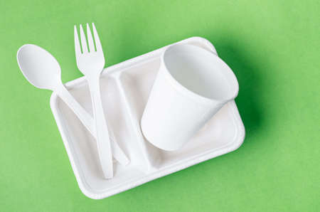 Eco friendly biodegradable paper disposable for packaging food and paper glass on green background. Archivio Fotografico
