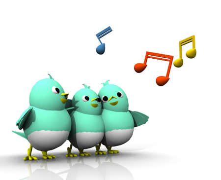 THE TRIO BIRDS SING A SONG WITH HAPPILY photo