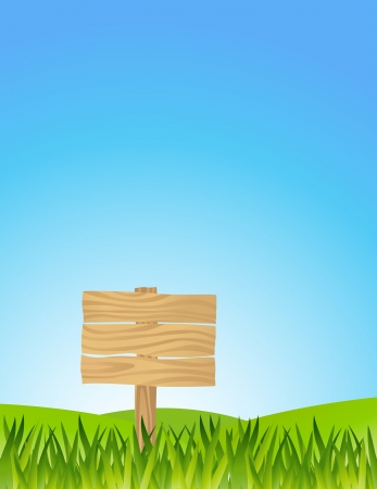 vector illustration of Grass With Blank Sign  Illustration