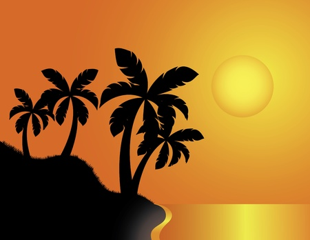 sunset painting: vector illustration of Tropical Beach