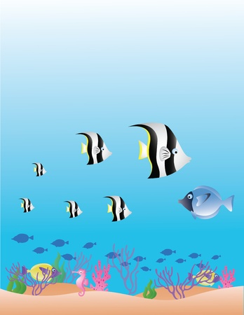 hydra: vector illustration of sea life background Illustration