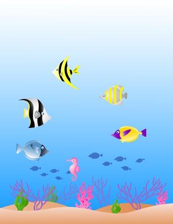 hydra: vector illustration of sea life background Illustration