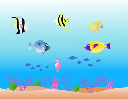 small group of object: vector illustration of sea life background Illustration