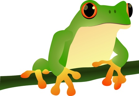 green smiley face: vector illustration of cartoon illustration of a frog sitting  Illustration