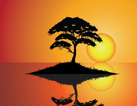 reflection of life: vector illustration of Tree Silhouette with grass and water  Illustration