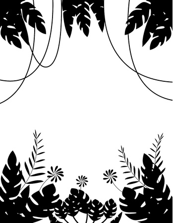 Vector Illustration of Tropical Leaf Background silhouette Stock Vector - 14805515