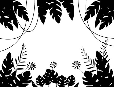 Vector Illustration of Tropical Leaf Background silhouette