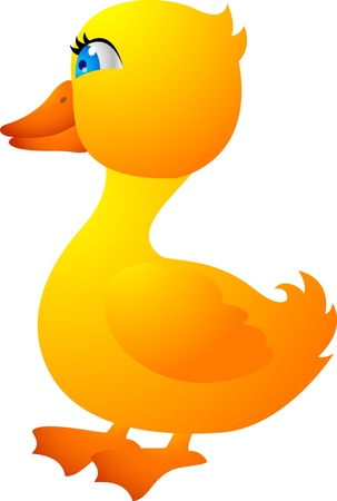 Vector Illustration Of Baby Duck Walking