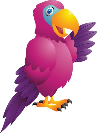 vector illustration of Funny parrot cartoon Illustration