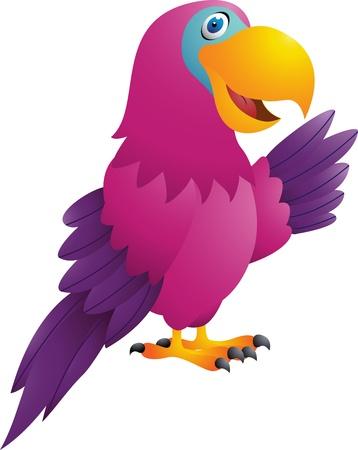 vector illustration of Funny parrot cartoon Illustration