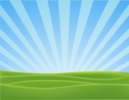 prato e cielo: Illustrazione Vettoriale Di Natura Paesaggio