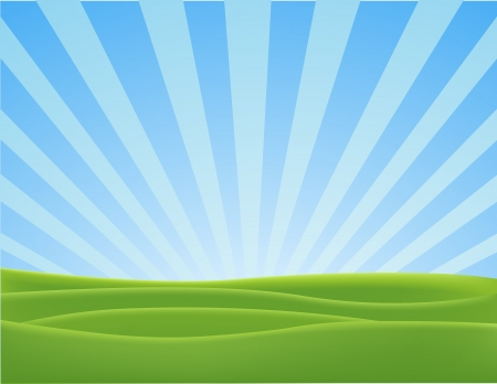wschód słońca: Ilustracja Wektora natura pejzaż Ilustracja