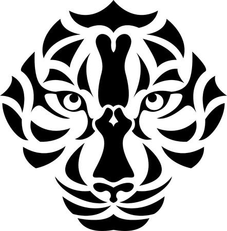 tigre blanc: Illustration Vecteur de tatouage de t�te de tigre