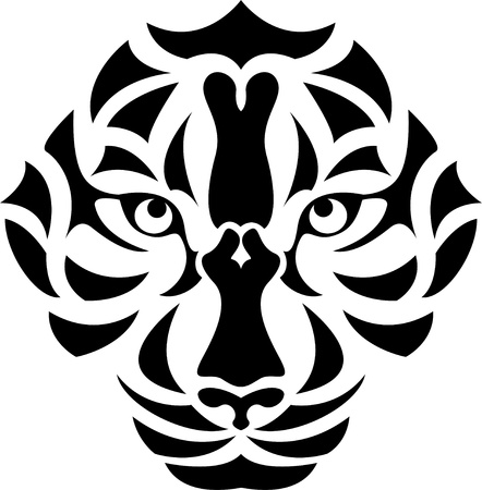siberian tiger: Vector Illustration Of Tiger Head Tattoo Illustration