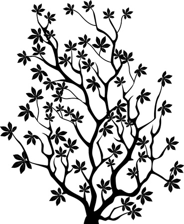 single flowers: vector illustration of Tree silhouette