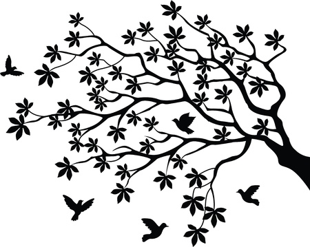 vector illustration of tree silhouette with bird flying Stock Vector - 14805694
