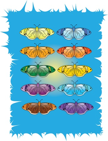 Vector Illustration Of Butterfly Collection Vector
