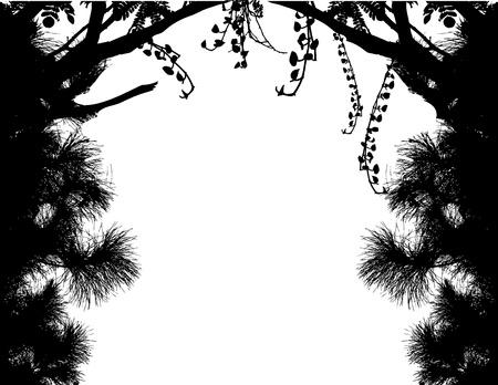 harmonious: Vector Illustration Of Tree Silhouette