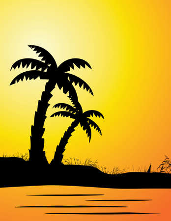 Vector Illustration Of Palm Silhouette