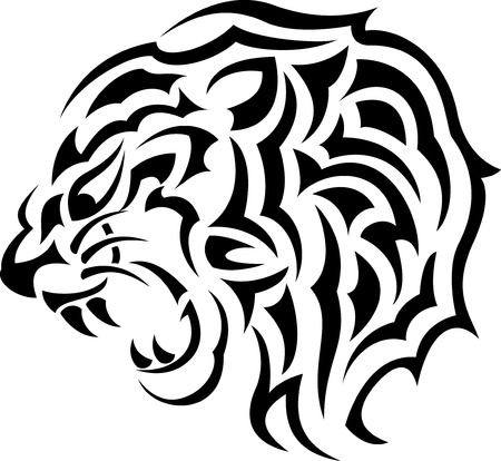 Vector Illustration Of tiger tribal tattoo Vector
