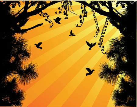 Vector Illustration Of Nature Tree Silhouette With Bird Fly Vector