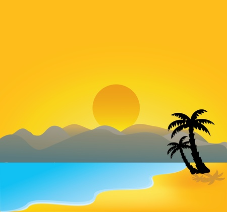 Vector Illustration Of vector tropical beach