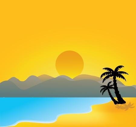Vector Illustration Of vector tropical beach