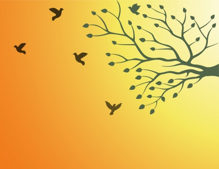 Vector Illustration Of tree silhouette with bird flying Vector