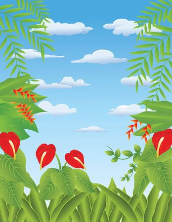 Vector Illustration Of tropical Forest Background Stock Vector - 14805629