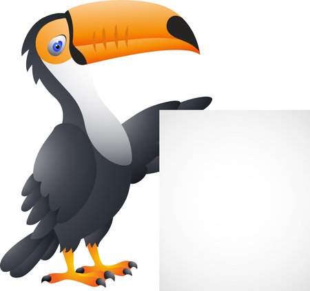 Vector Illustration Of toucan bird with blank sign Illustration