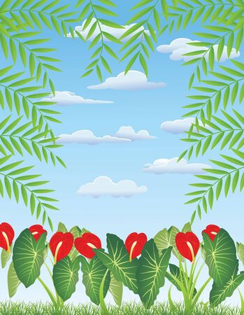 amazon forest: vector illustration of Tropical Leaf Background