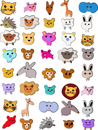Vector Illustration Of Cute animal Cartoon collection