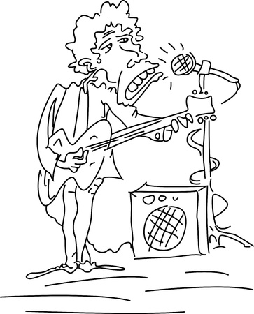 Vector Illustration Of cheerful man playing guitar