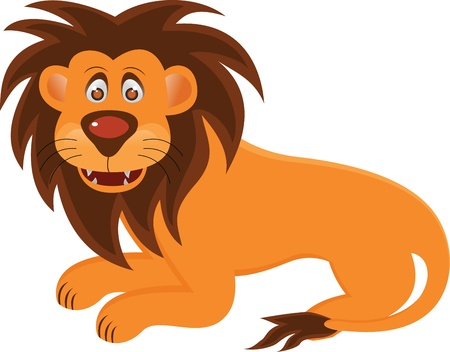Vector Illustration Of Funny Lion Cartoon