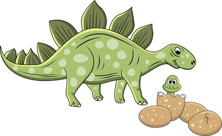 Illustration Of Stegosaurus cartoon Vector