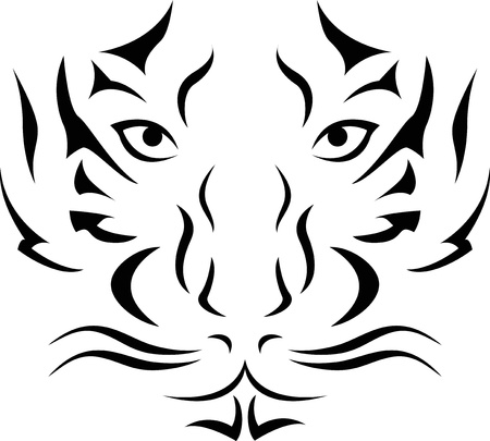 tigre blanc: Illustration Vecteur de tatouage de t�te de tigre