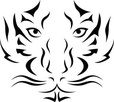 sumatran tiger: Vector Illustration Of Tiger Head Tattoo Illustration