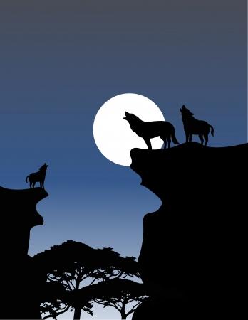 Vector Illustratie Van Wolf Howling