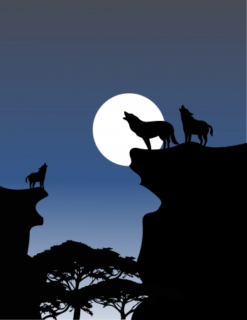 solitude: Vector Illustration Of Wolf Howling