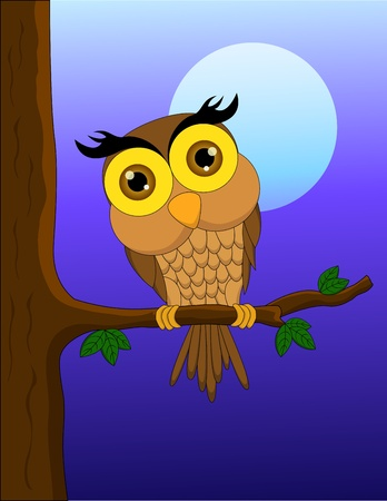 Vector illustration of Cartoon owl sitting on tree branch with moon
