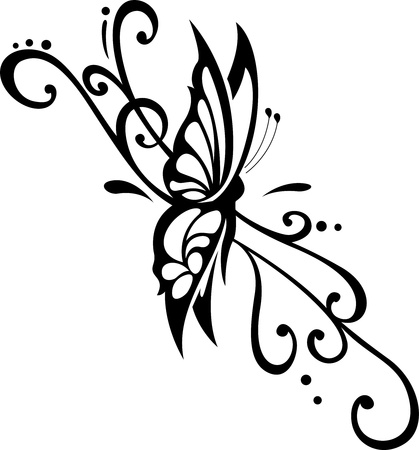 curled: vector floral ornament with butterfly, element for design Illustration