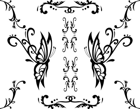 floral ornament with butterfly, element for design