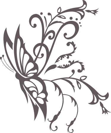 farfalla tatuaggio: ornamento floreale con farfalla, elemento di design