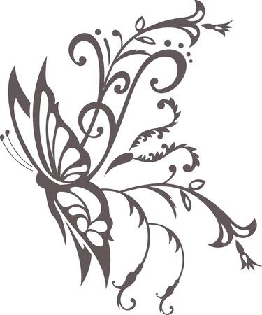 tatouage papillon: ornement floral avec papillon, �l�ment pour la conception